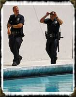 Policement and a pool